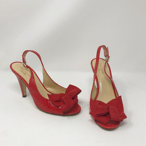 Kate Spade Red Bow Leather Faux Alligator Heels